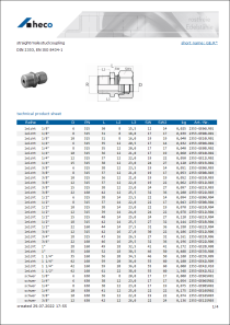 Data sheet straight male stud coupling