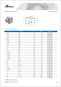 Data sheet reducing nipple - ISO 4144