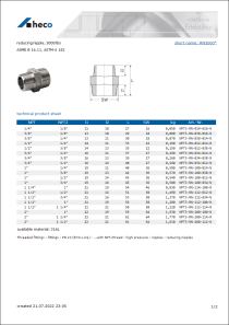 Data Sheet reducing nipple, 3000 lbs