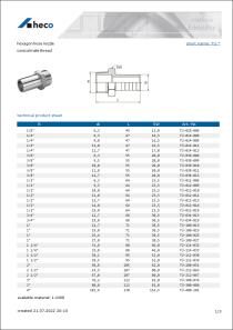 Data sheet hexagon hose nozzle