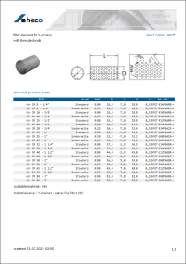 Data Sheet filter element for Y-strainer
