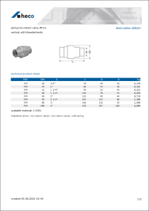 Data sheet spring non-return valve, PN 16