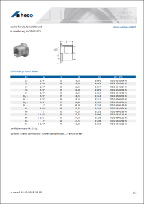 Data Sheet clamp ferrule, female thread