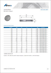 Data Sheet collar blind flange