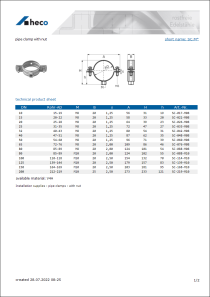 Data sheet pipe clamp with nut