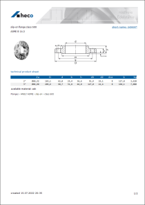 Data sheet slip-on flange class 600