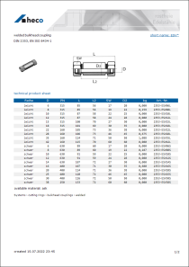Data sheet welded bulkhead coupling