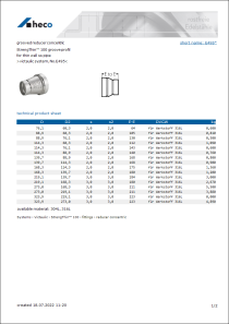 Data sheet grooved reducer concentric