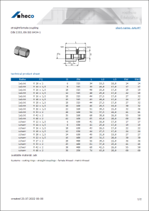 Data sheet straight female coupling