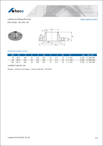 Data sheet welding neck flange PN 63/64