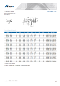 Data sheet T-male stud coupling