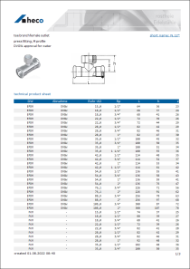 Data sheet tee branch female outlet