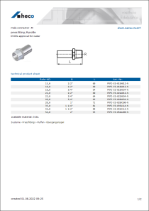 Data sheet male connector - M
