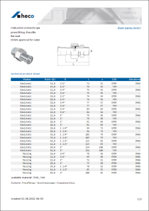 Data sheet male union connector gas