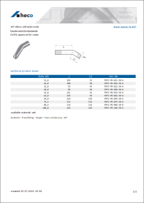 Data sheet 30° elbow with plain ends