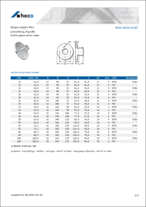 Data sheet flanges adaptor PN 6