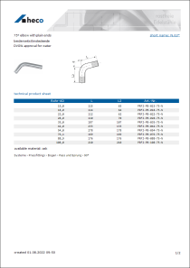 Data sheet 75° elbow with plain ends