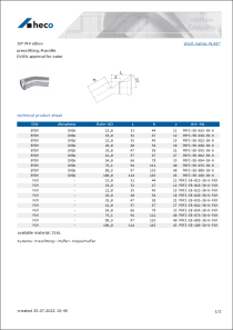 Data sheet 30° M-F elbow