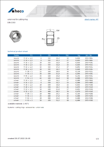 Data sheet union nut for cutting ring