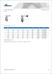 Data sheet butterfly valve BW-BW