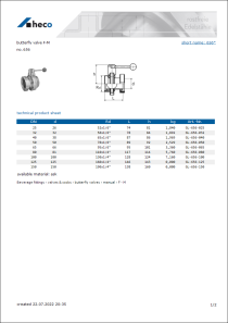Data sheet butterfly valve F-M