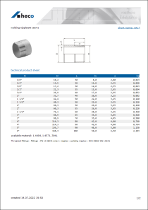 Data sheet welding nipple EN 10241