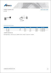 Data Sheet handle for butterfly valve