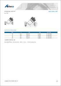 Data sheet inclined seat valve F-M