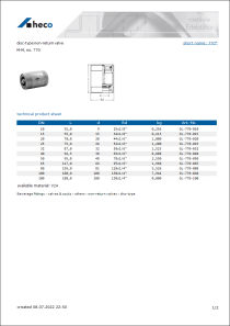Data sheet disc-type non-return valve