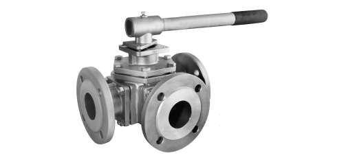 Stainless steel ball valves flanged ends 3-way