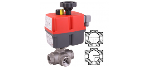 Stainless steel ball valves with actuator electric threaded ends & 3-way