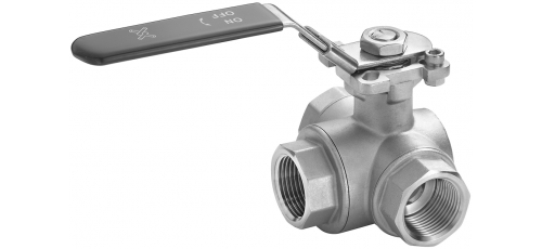 Stainless steel ball valves threaded ends 3-way manually operated