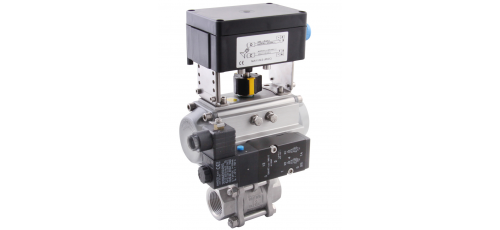 Stainless steel ball valves with actuator 3-piece