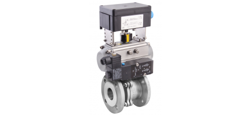 Stainless steel ball valves with actuator 2-piece