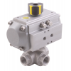 Stainless steel ball valves with actuator pneumatic threaded ends, 3-way