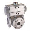 Stainless steel ball valves with actuator pneumatic flanged ends, 3-way