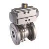 Stainless steel ball valves with actuator pneumatic flanged ends, 2-piece