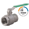 Stainless steel ball valves threaded ends 2-piece & full bore DVGW stainless steel